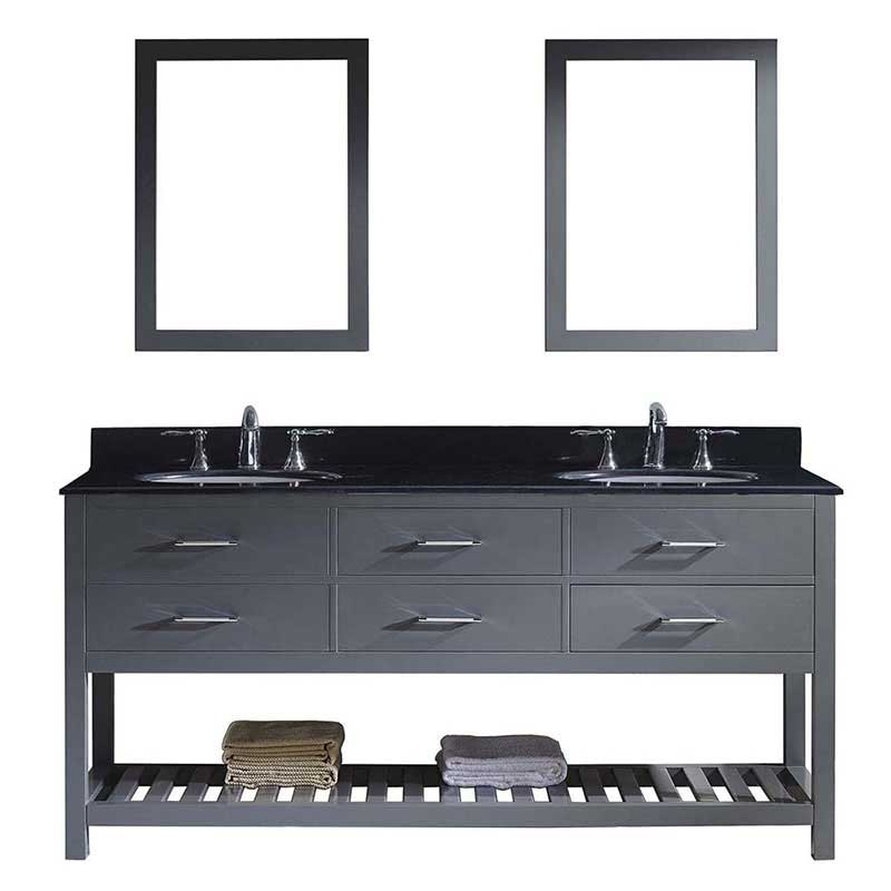"Virtu USA Caroline Estate 72"" Double Bathroom Vanity in Grey with Black Galaxy Granite Top and Round Sink with Polished Chrome Faucet and Mirrors"