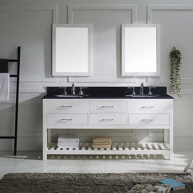 "Virtu USA Caroline Estate 72"" Double Bathroom Vanity in White with Black Galaxy Granite Top and Round Sink with Polished Chrome Faucet and Mirrors 2"