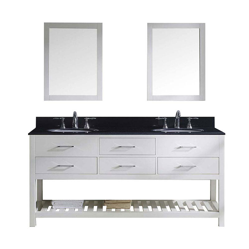 "Virtu USA Caroline Estate 72"" Double Bathroom Vanity in White with Black Galaxy Granite Top and Round Sink with Polished Chrome Faucet and Mirrors"