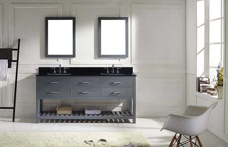 "Virtu USA Caroline Estate 72"" Double Bathroom Vanity in Grey with Black Galaxy Granite Top and Square Sink with Brushed Nickel Faucet and Mirrors 3"