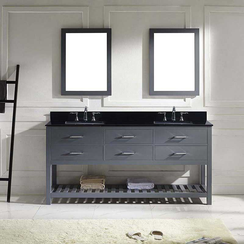 "Virtu USA Caroline Estate 72"" Double Bathroom Vanity in Grey with Black Galaxy Granite Top and Square Sink with Brushed Nickel Faucet and Mirrors 2"