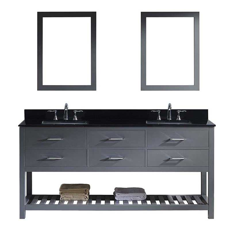 "Virtu USA Caroline Estate 72"" Double Bathroom Vanity in Grey with Black Galaxy Granite Top and Square Sink with Polished Chrome Faucet and Mirrors"