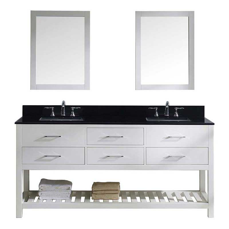 "Virtu USA Caroline Estate 72"" Double Bathroom Vanity in White with Black Galaxy Granite Top and Square Sink with Brushed Nickel Faucet and Mirrors"