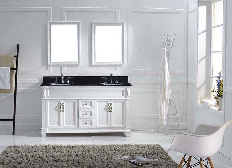 "Virtu USA Victoria 60"" Double Bathroom Vanity in White with Black Galaxy Granite Top and Round Sink with Brushed Nickel Faucet and Mirrors 3"