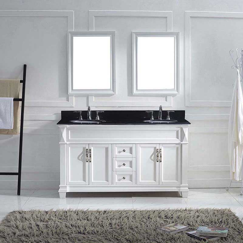 "Virtu USA Victoria 60"" Double Bathroom Vanity in White with Black Galaxy Granite Top and Round Sink with Brushed Nickel Faucet and Mirrors 2"