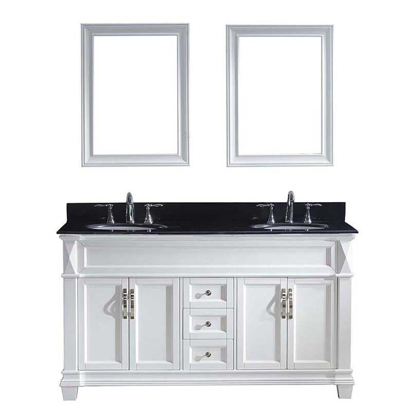"Virtu USA Victoria 60"" Double Bathroom Vanity in White with Black Galaxy Granite Top and Round Sink with Brushed Nickel Faucet and Mirrors"