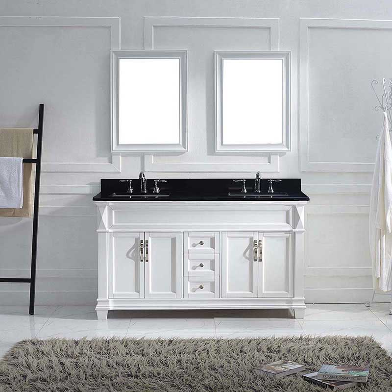 "Virtu USA Victoria 60"" Double Bathroom Vanity in White with Black Galaxy Granite Top and Square Sink with Polished Chrome Faucet and Mirrors 2"