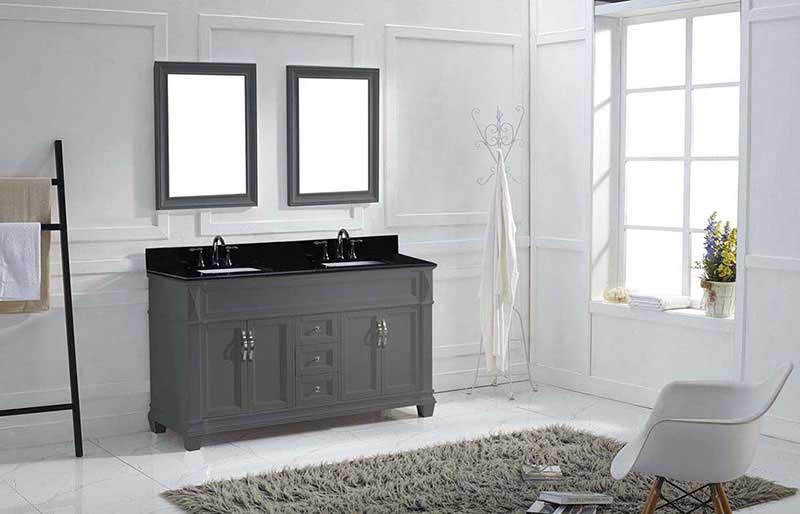 "Virtu USA Victoria 60"" Double Bathroom Vanity in White with Black Galaxy Granite Top and Square Sink with Polished Chrome Faucet and Mirrors 4"