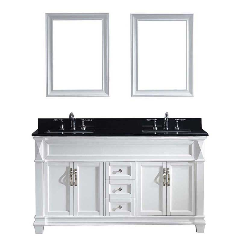 "Virtu USA Victoria 60"" Double Bathroom Vanity in White with Black Galaxy Granite Top and Square Sink with Polished Chrome Faucet and Mirrors"