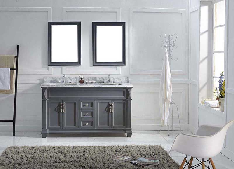 "Virtu USA Victoria 60"" Double Bathroom Vanity in Grey with Marble Top and Square Sink with Mirrors 3"