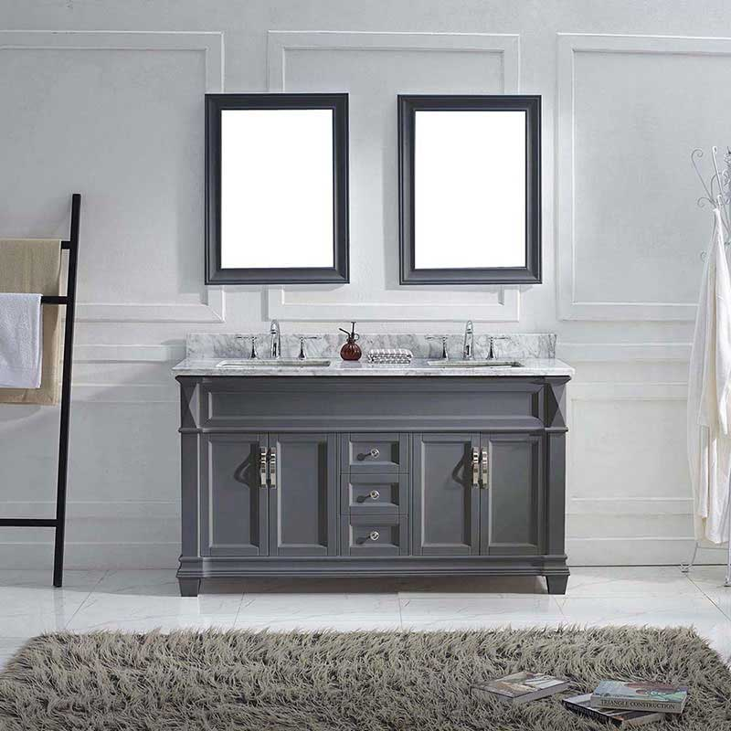 "Virtu USA Victoria 60"" Double Bathroom Vanity in Grey with Marble Top and Square Sink with Mirrors 2"