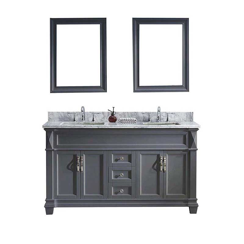"Virtu USA Victoria 60"" Double Bathroom Vanity in Grey with Marble Top and Square Sink with Mirrors"