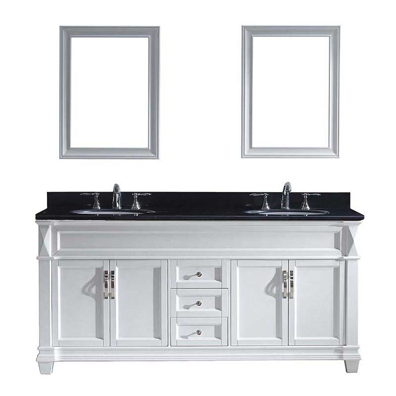 "Virtu USA Victoria 72"" Double Bathroom Vanity in White with Black Galaxy Granite Top and Round Sink with Polished Chrome Faucet and Mirrors"