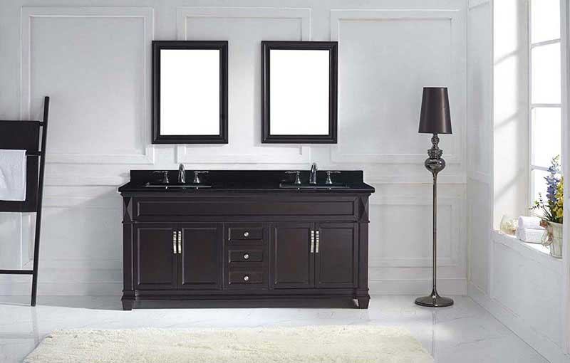 "Virtu USA Victoria 72"" Double Bathroom Vanity in Espresso with Black Galaxy Granite Top and Square Sink with Mirrors 3"
