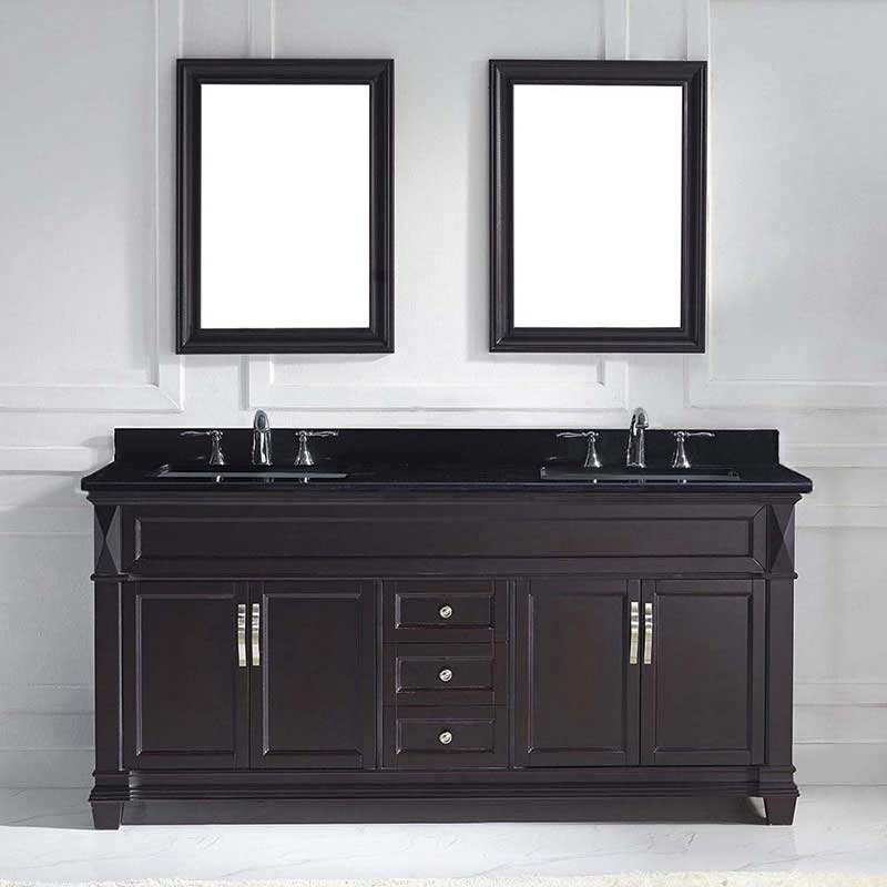 "Virtu USA Victoria 72"" Double Bathroom Vanity in Espresso with Black Galaxy Granite Top and Square Sink with Mirrors 2"