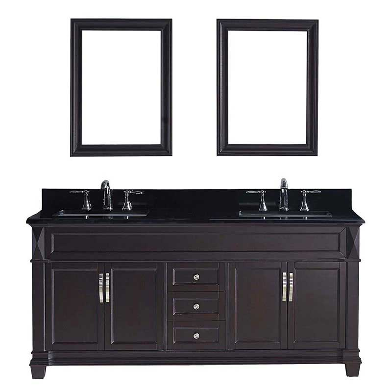 "Virtu USA Victoria 72"" Double Bathroom Vanity in Espresso with Black Galaxy Granite Top and Square Sink with Mirrors"