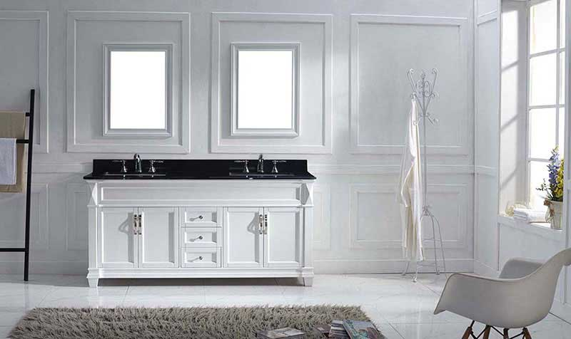 "Virtu USA Victoria 72"" Double Bathroom Vanity in White with Black Galaxy Granite Top and Square Sink with Mirrors 2"