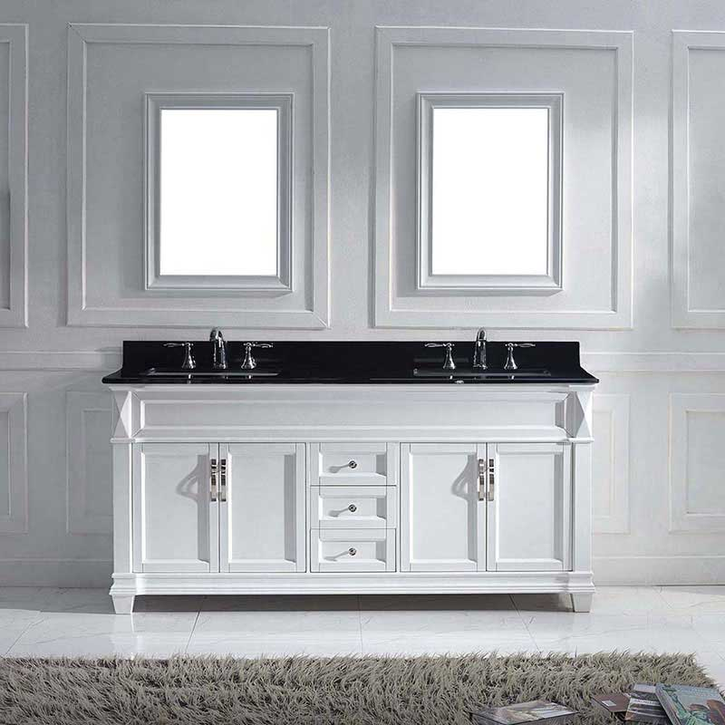 "Virtu USA Victoria 72"" Double Bathroom Vanity in White with Black Galaxy Granite Top and Square Sink with Brushed Nickel Faucet and Mirrors 2"