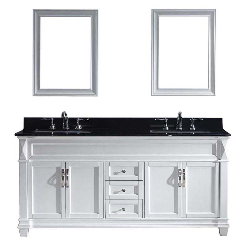 "Virtu USA Victoria 72"" Double Bathroom Vanity in White with Black Galaxy Granite Top and Square Sink with Mirrors"