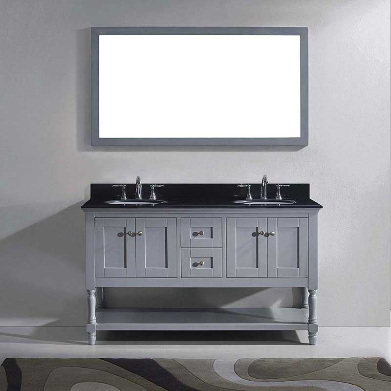 "Virtu USA Julianna 60"" Double Bathroom Vanity in Grey with Black Galaxy Granite Top and Round Sink with Polished Chrome Faucet and Mirror 2"