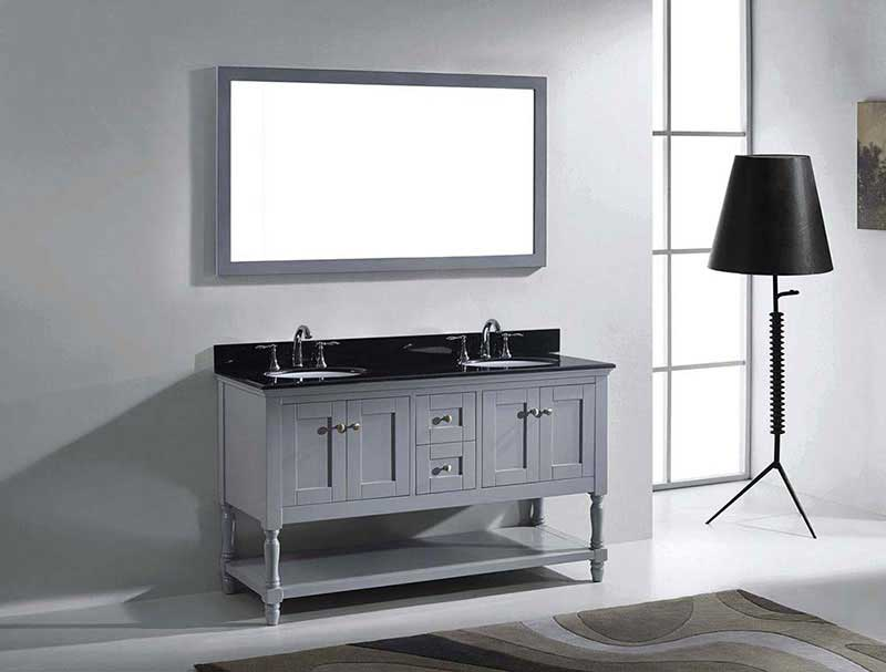 "Virtu USA Julianna 60"" Double Bathroom Vanity in Grey with Black Galaxy Granite Top and Round Sink with Polished Chrome Faucet and Mirror 4"
