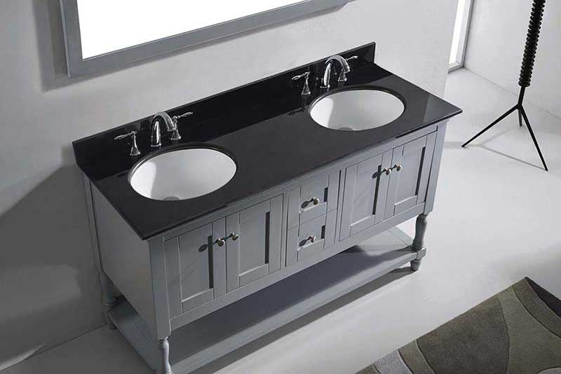 "Virtu USA Julianna 60"" Double Bathroom Vanity in Grey with Black Galaxy Granite Top and Round Sink with Polished Chrome Faucet and Mirror 6"