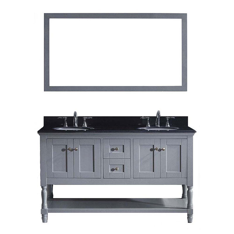 "Virtu USA Julianna 60"" Double Bathroom Vanity in Grey with Black Galaxy Granite Top and Round Sink with Polished Chrome Faucet and Mirror"