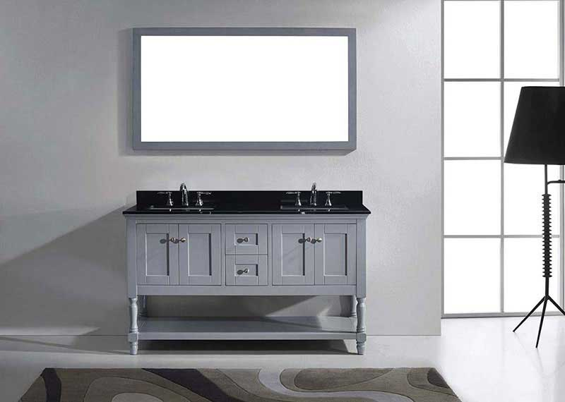 "Virtu USA Julianna 60"" Double Bathroom Vanity in Grey with Black Galaxy Granite Top and Square Sink with Polished Chrome Faucet and Mirror 3"