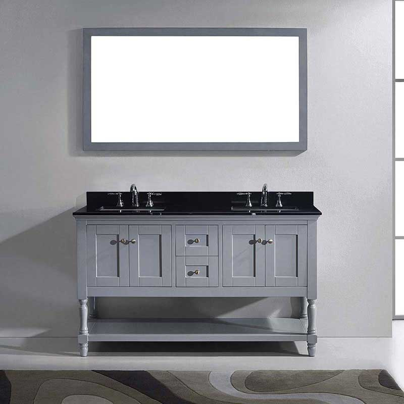 "Virtu USA Julianna 60"" Double Bathroom Vanity in Grey with Black Galaxy Granite Top and Square Sink with Polished Chrome Faucet and Mirror 2"