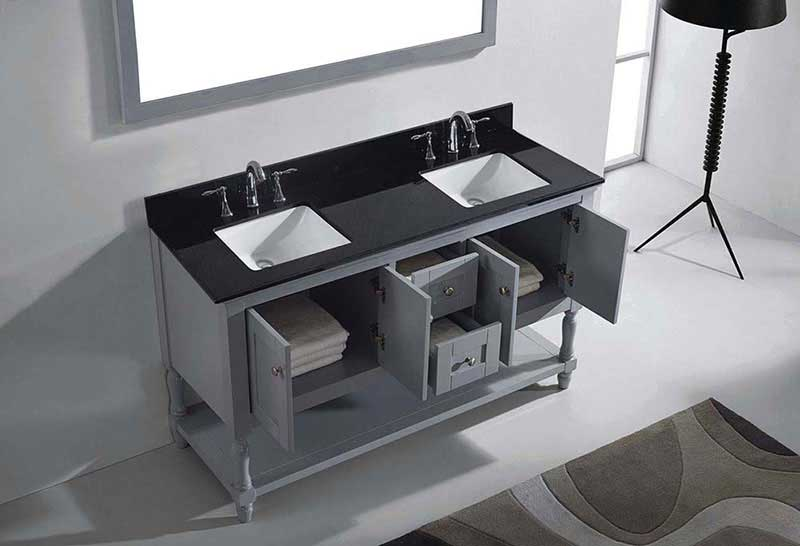 "Virtu USA Julianna 60"" Double Bathroom Vanity in Grey with Black Galaxy Granite Top and Square Sink with Polished Chrome Faucet and Mirror 5"