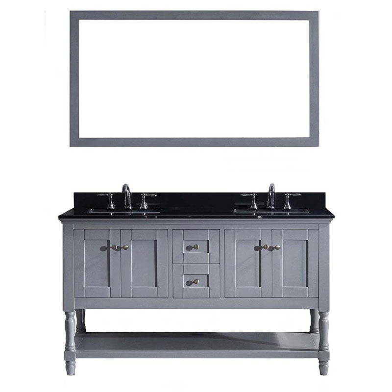 "Virtu USA Julianna 60"" Double Bathroom Vanity in Grey with Black Galaxy Granite Top and Square Sink with Polished Chrome Faucet and Mirror"