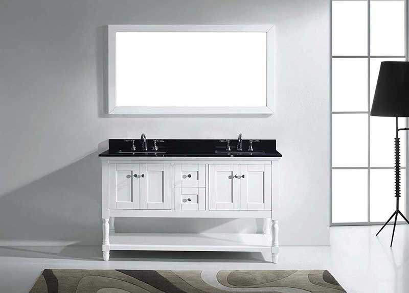 "Virtu USA Julianna 60"" Double Bathroom Vanity in White with Black Galaxy Granite Top and Square Sink with Mirror 3"