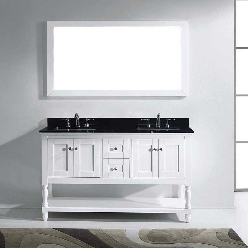 "Virtu USA Julianna 60"" Double Bathroom Vanity in White with Black Galaxy Granite Top and Square Sink with Mirror 2"
