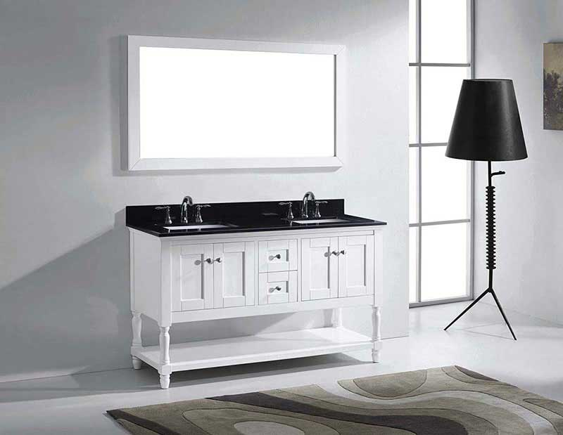 "Virtu USA Julianna 60"" Double Bathroom Vanity in White with Black Galaxy Granite Top and Square Sink with Mirror 4"