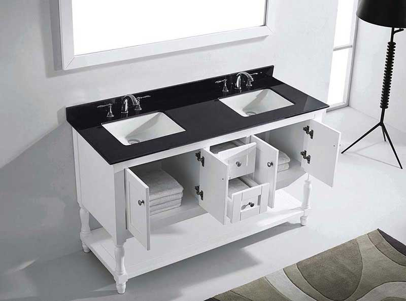 "Virtu USA Julianna 60"" Double Bathroom Vanity in White with Black Galaxy Granite Top and Square Sink with Mirror 5"