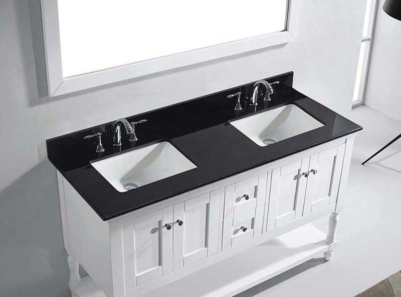"Virtu USA Julianna 60"" Double Bathroom Vanity in White with Black Galaxy Granite Top and Square Sink with Mirror 6"