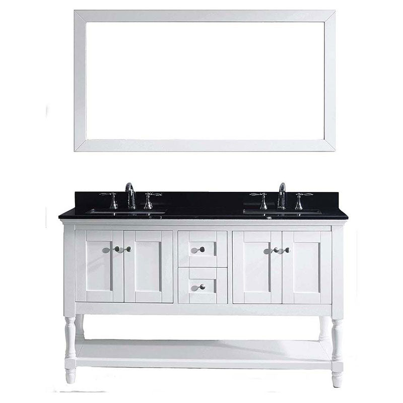 "Virtu USA Julianna 60"" Double Bathroom Vanity in White with Black Galaxy Granite Top and Square Sink with Mirror"