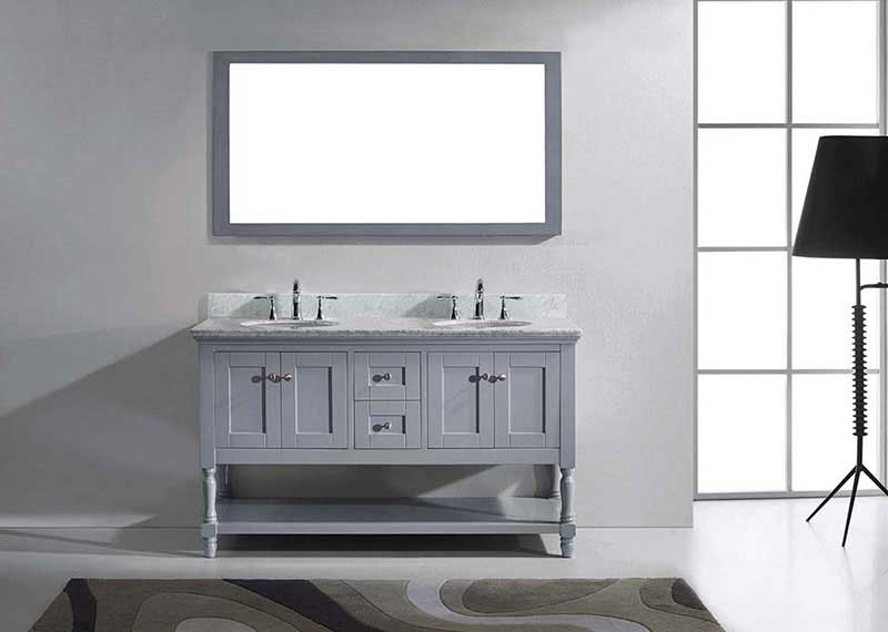 "Virtu USA Julianna 60"" Double Bathroom Vanity in Grey with Marble Top and Round Sink with Polished Chrome Faucet and Mirror 3"