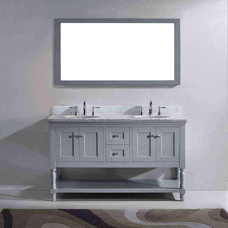 "Virtu USA Julianna 60"" Double Bathroom Vanity in Grey with Marble Top and Round Sink with Polished Chrome Faucet and Mirror 2"