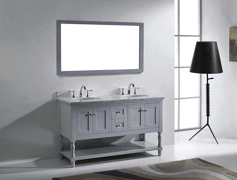 "Virtu USA Julianna 60"" Double Bathroom Vanity in Grey with Marble Top and Round Sink with Polished Chrome Faucet and Mirror 4"