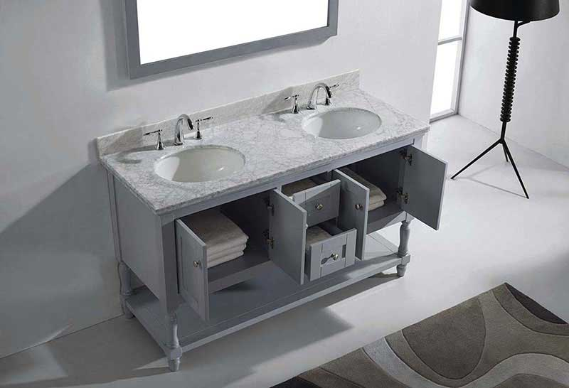 "Virtu USA Julianna 60"" Double Bathroom Vanity in Grey with Marble Top and Round Sink with Polished Chrome Faucet and Mirror 5"