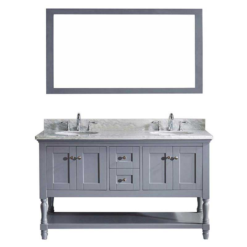"Virtu USA Julianna 60"" Double Bathroom Vanity in Grey with Marble Top and Round Sink with Polished Chrome Faucet and Mirror"