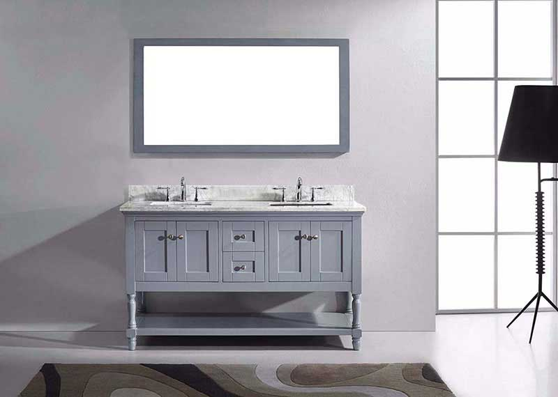 "Virtu USA Julianna 60"" Double Bathroom Vanity in Grey with Marble Top and Square Sink with Mirror 3"