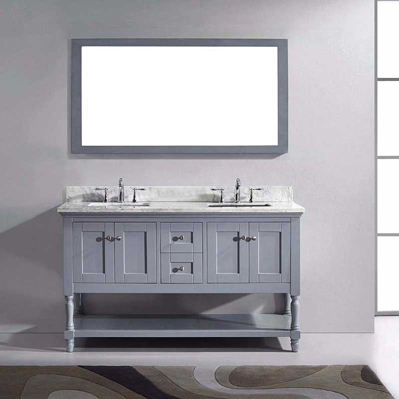 "Virtu USA Julianna 60"" Double Bathroom Vanity in Grey with Marble Top and Square Sink with Mirror 2"