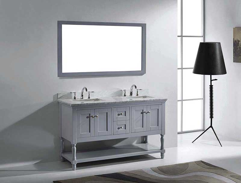 "Virtu USA Julianna 60"" Double Bathroom Vanity in Grey with Marble Top and Square Sink with Mirror 4"
