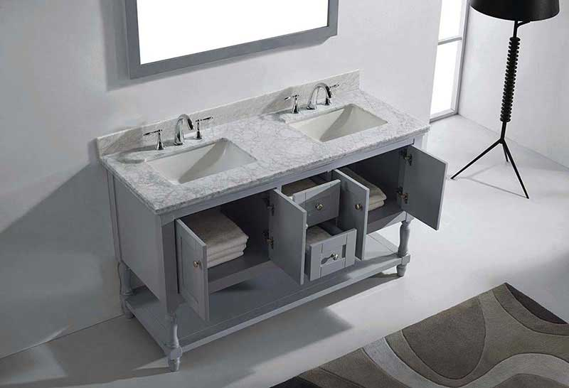 "Virtu USA Julianna 60"" Double Bathroom Vanity in Grey with Marble Top and Square Sink with Mirror 5"