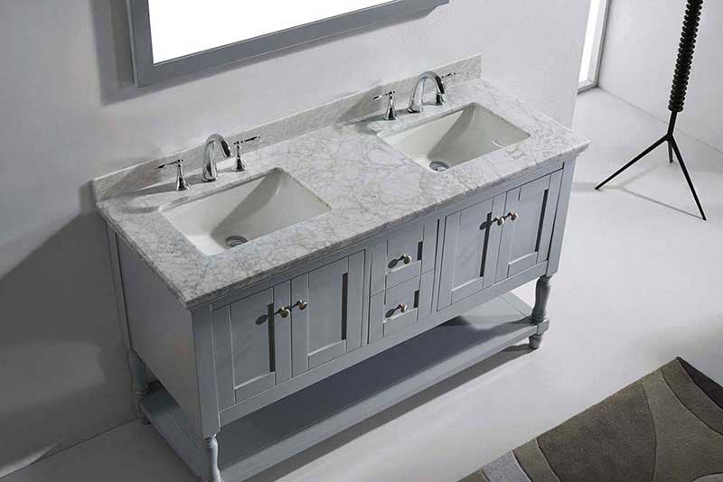 "Virtu USA Julianna 60"" Double Bathroom Vanity in Grey with Marble Top and Square Sink with Mirror 6"