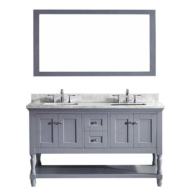 "Virtu USA Julianna 60"" Double Bathroom Vanity in Grey with Marble Top and Square Sink with Mirror"