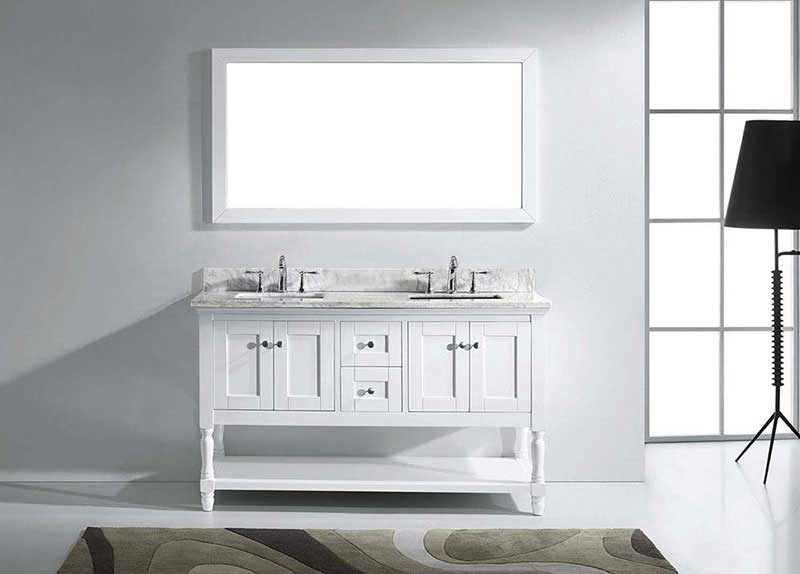 "Virtu USA Julianna 60"" Double Bathroom Vanity in White with Marble Top and Square Sink with Brushed Nickel Faucet and Mirror 3"