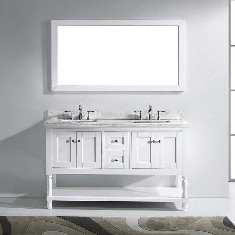 "Virtu USA Julianna 60"" Double Bathroom Vanity in White with Marble Top and Square Sink with Brushed Nickel Faucet and Mirror 2"